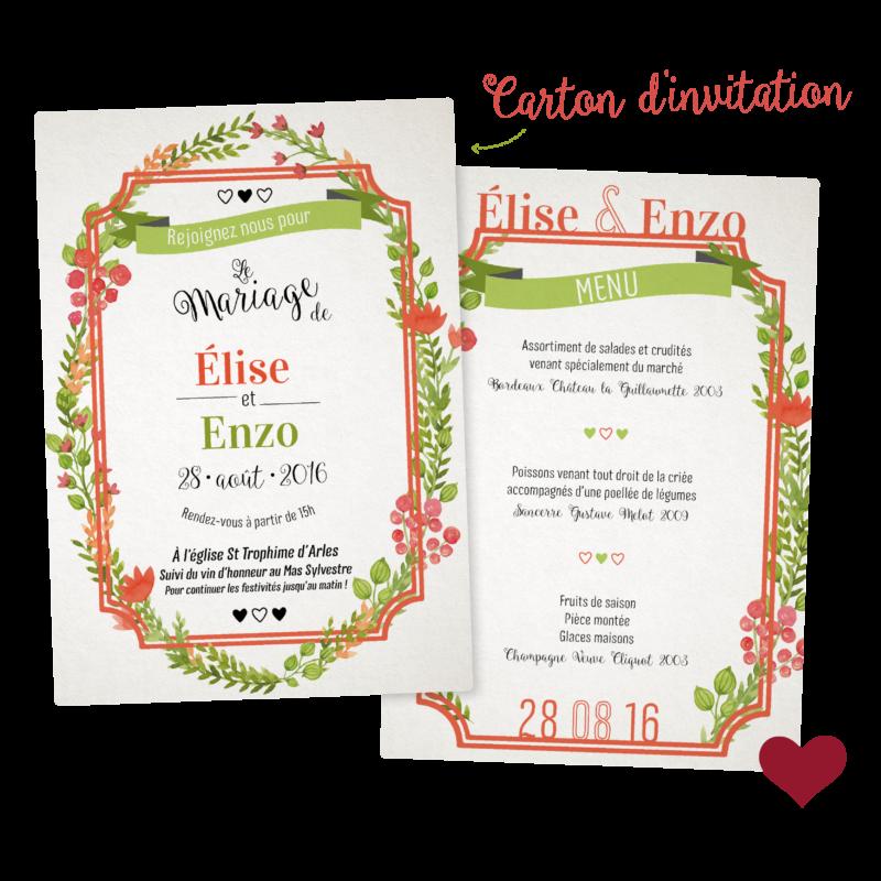 Collection CARTE FLORALE - Carte d'invitation